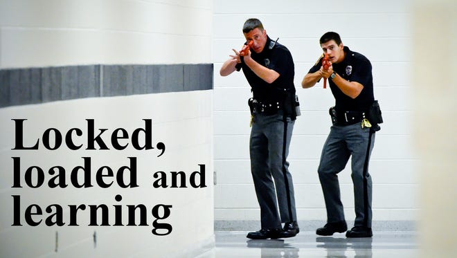 """A state Senate bill, SB383, would leave it up to school districts to decide if teachers and other employees can carry guns on school property. At least one local police chief opposes the plan, saying officers undergo rigorous training to deal with school-shooter situations. Just because teachers are armed doesn't mean they're prepared to deal with an active shooter, Northern Regional Chief Mark Bentzel said, adding that teachers carrying guns actually might make it harder for officers to separate """"good guys"""" from """"bad guys"""" in an emergency. Photo illustration by John A. Pavoncello"""