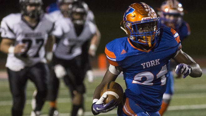 York High's Khalid Dorsey scores on a long touchdown run. York High defeats South Western 34-20 in football at Small Athletic Field in York, Friday, October 20, 2017.