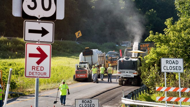 The southbound ramp to Interstate 83 from North George Street is closed for removal of asphalt on Tuesday. On Wednesday, the northbound on- and off-ramps for North George Street will be closed for paving along with the southbound on-and-off-ramps of the Route 30 interchange for asphalt removal.