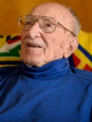 Woodrow Felty, 99, a World War II veteran talks Thursday, Feb. 4, 2016, about his time during World War II as a pilot. Felty will turn 100 years old on Feb. 11, 2016.