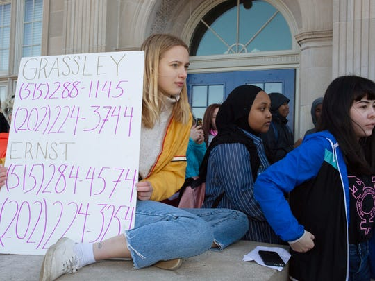 Roosevelt High students protest gun violence during a demonstration Thursday, March 1 in Des Moines. They also paid tribute to victims of the Parkland school shooting.