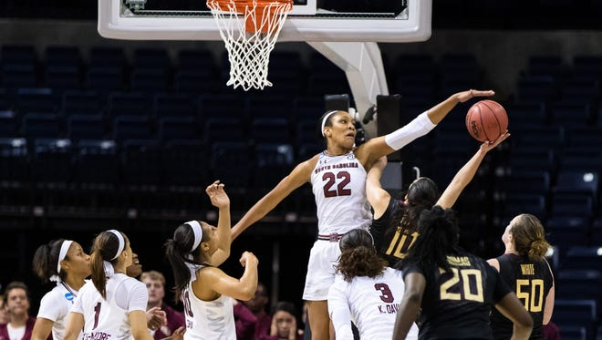 South Carolina's A'ja Wilson blocks a shot attempt by Florida State's Leticia Romero during the fourth period in the Stockton Regional finals of the women's NCAA tournament at Stockton Arena in Calif.