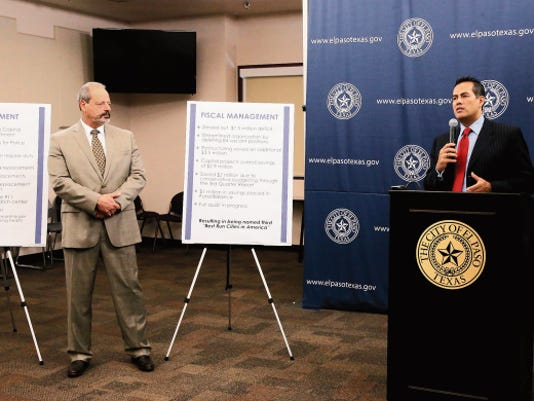 El Paso Mayor Oscar Leeser looks on as City Manager Tommy Gonzalez discusses the city's plans to improve fiscal and project management, by increasing its Capital Improvements Department staffing by 18 to help ensure projects are done in a timely manner and identified what it calls inefficiencies that have resulted in a savings of 3.5 million.
