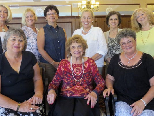 Former Miss York County contestants who attended last Sunday's reunion are: (seated from left) Shirley Thornton, Leah Seitz, and the Rev. Kate Bortner, and (standing from left) Kim Blouse, Susan Elliot, Diane Hewitt, Joan Bitzer, Martha Magor, and Penny Stofko.