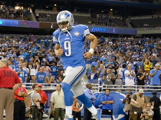 Lions quarterback Matthew Stafford during player introductions before he preseason game against the Jets at Ford Field on Aug. 13.