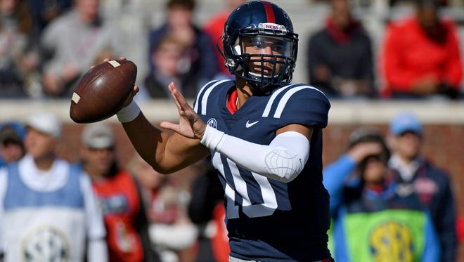 Quarterback Jordan Ta'amu (10) has thrown for 750 yards and four touchdowns in his first two starts at Ole Miss.