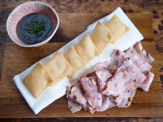 Gnocco fritto with mortadella and onion jam at The Love in Philadelphia.