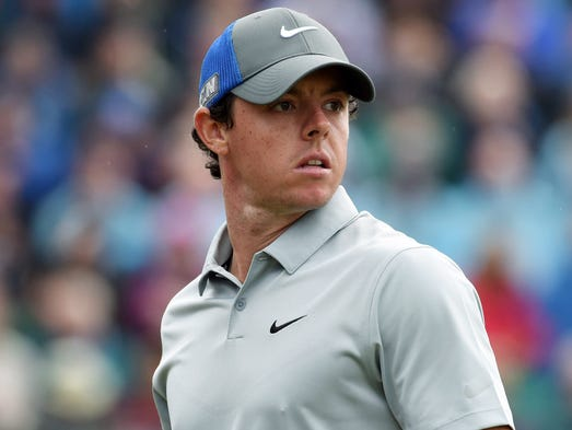 Rory McIlroy watches his tee shot at the 4th during his third round at The 143rd Open Championship at the Royal Liverpool Golf Club.