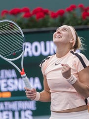 Elena Vesnina of Russia celebrates her victory over Catherine Bellis of the United States of America on Stadium 4 at the 2018 BNP Paribas Open at indian Wells Tennis Garden on March 10, 2018.