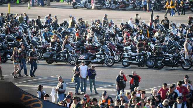 People gather near the Pentagon for the last Rolling Thunder event on May 26, 2019, in Arlington, Virginia. The ride will continue in 2020 with a new name, Rolling to Remember, and sponsor.