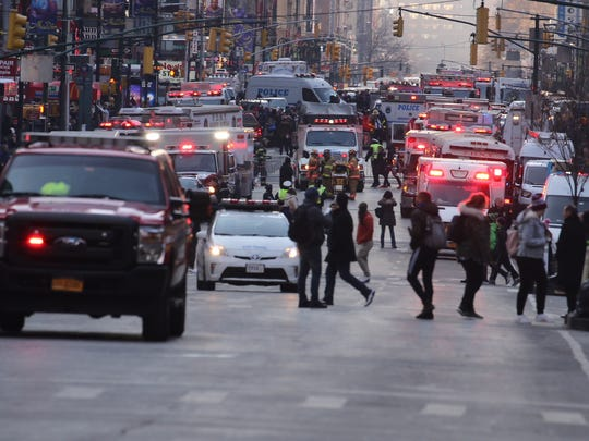 Heavy police and fire presence on Eighth Avenue near the Port Authority bus terminal after the Monday, Dec. 11, 2017, explosion.