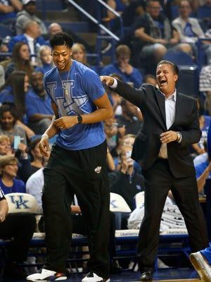 Kentucky's John Calipari jokes around with former Cats and current NBA star Anthony Davis.  Oct. 16, 2015