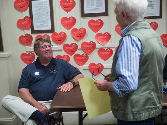 Adams County Commissioner Chair Randy Phiel talks with