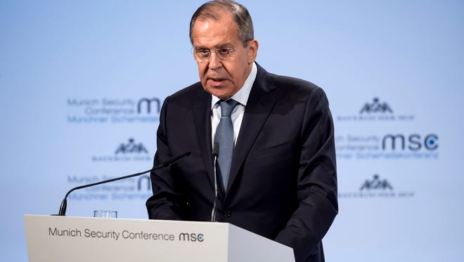 Russia's foreign minister, Sergey Lavrov, speaks at the Security Conference in Munich, Germany, on Saturday.