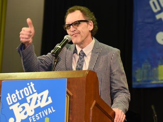Chris Collins, president and artistic director of the Detroit Jazz Festival, gives a thumbs up during a media preview luncheon in 2018 at the Detroit Athletic Club.