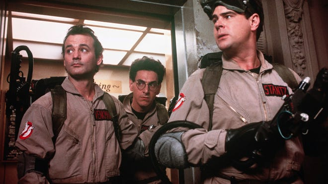 Look out for the Stay Puff Marshmallow Man. Bill Murray (left), Harold Ramis and Dan Aykroyd in 'Ghostbusters.'