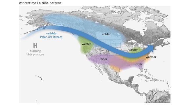 Typical impacts of a La Nina winter across North America.