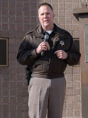 Calhoun County Sheriff Matt Saxton speaks during the Rally Against Heroin held Tuesday.