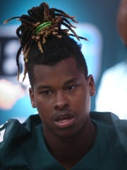 Michigan State receiver Darrell Stewart Jr. talks with reporters Monday, August 7, 2017 at Spartan Stadium in East Lansing.