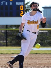 Rachel Everett allowed one base runner in 10 innings, pitching Hartland to a district softball championship.