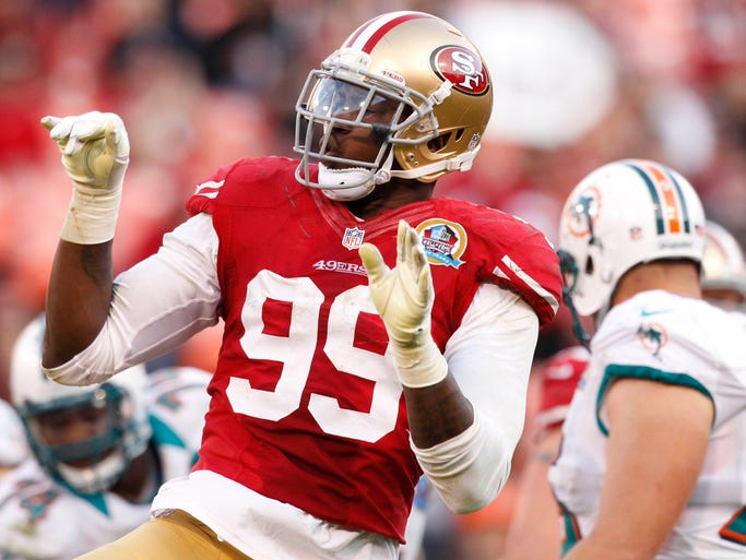 OLB Aldon Smith49ers: Suspended 9 games (5 for personal conduct violation and 4 for substance-abuse violation)