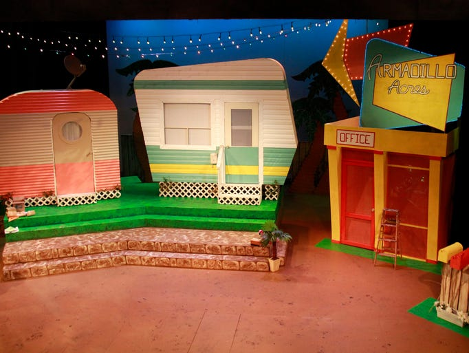 """The set of """"The Great American Trailer Park Musical"""" at the Springfield Little Theatre on Thursday, June 12, 2014."""