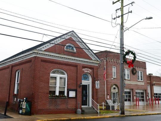The Frankford Town Hall is shown. The town has a population of 988 and annual water revenues of about $375,000, which cover the cost of operating the system and paying back two loans, which total $1 million, from the state.