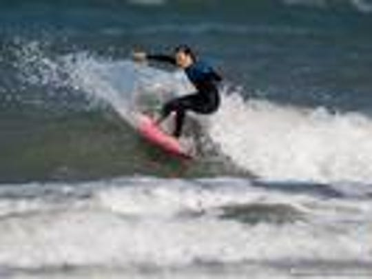 Coral Schuster, 13, is a local surfer who will be taking part in the inaugural Saltwater Sweethearts Pro/Am surf festival this Saturday.