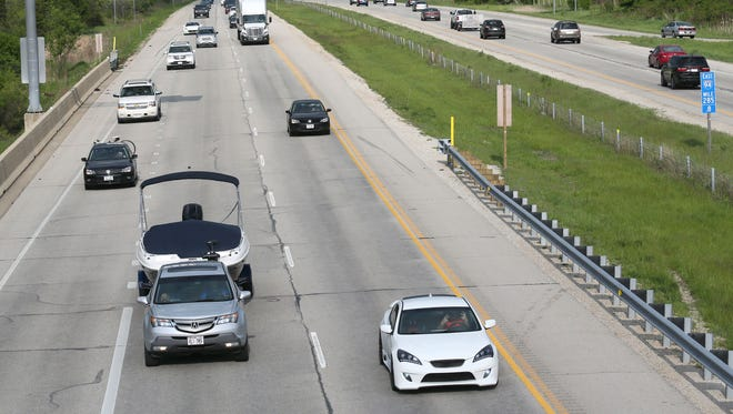 Traffic moves west (at left) Thursday on Interstate 94 near Delafield in Waukesha County as the Memorial Day weekend approaches.