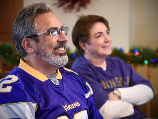 Jim and Kim Schuweiler talk about their upcoming roles as volunteers during Super Bowl festivities in Minneapolis during an interview Saturday, Dec. 9, in St. Cloud.