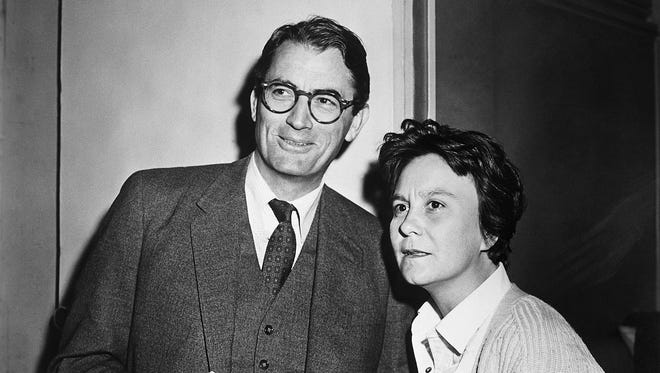 """Actor Gregory Peck and novelist Harper Lee in 1962 on the set of the Universal Pictures release """"To Kill A Mockingbird,"""" based on Lee's Pulitzer Prize winning novel."""