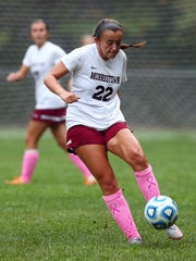 Morristown's Nicole Ferrara passes the ball during a NJAC-United girls soccer match against Chatham.  October 11, 2017. Morristown, New Jersey