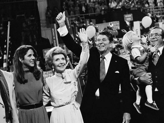 Ronald Reagan, with wife Nancy, was nominated for president