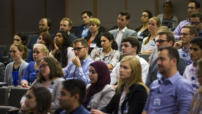 Students listen to a panel of doctors at the Mayo Clinic School of Medicine in Scottsdale on July 19, 2017. The first-year students learned about strategies and tips for surviving the rigorous curriculum.