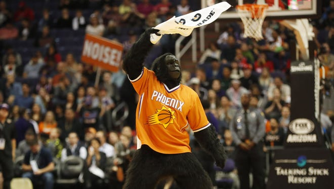 Phoenix Suns Gorilla fires up the crowd against the Atlanta Hawks during the fourth quarter at Talking Stick Resort Arena in Phoenix January 2, 2018.