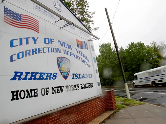 Sign near the gate at Rikers Island.