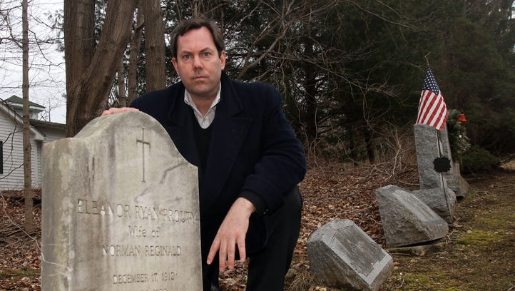 Brook Prouty at his grandmother's grave in 2013. Prouty