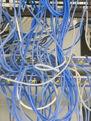 Wires connected to computer server