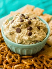 Cookie Dough Dip with Pretzels and Graham Crackers