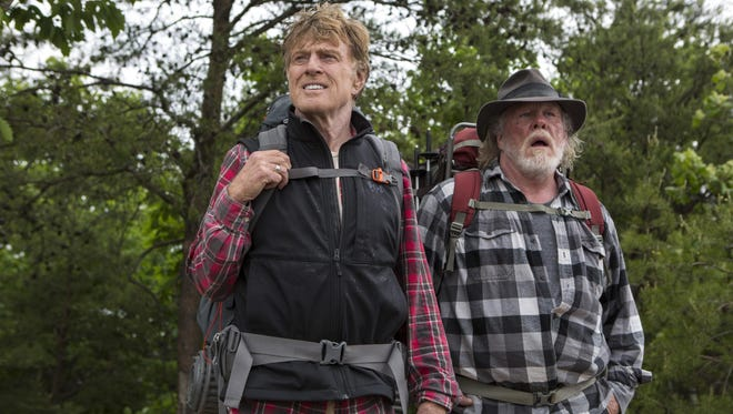 "Robert Redford, left, as Bill Bryson and Nick Nolte as Stephen Katz in the film, ""A Walk in the Woods."" Redford costars with Nolte and Emma Thompson in the movie, which hits U.S. theaters Sept. 2."