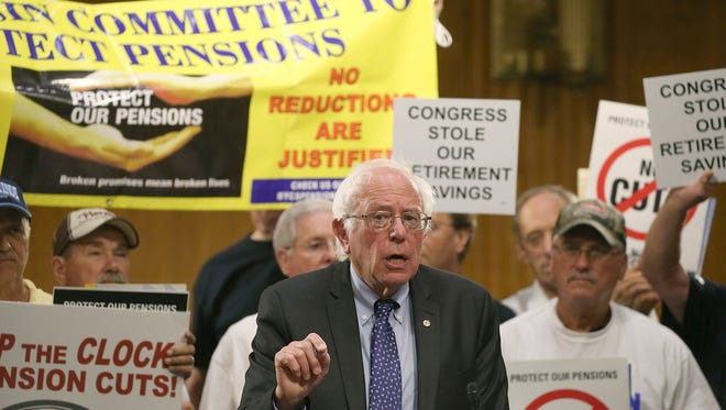 Democratic presidential candidate U.S. Sen. Bernie Sanders, I-Vt., speaks during a rally with the International Brotherhood of Teamsters on Capitol Hill Sept. 10, 2015. in Washington, DC. Sanders urged Congress to stop the clock on unprecedented pension cuts for Teamsters and Machinist Unions.