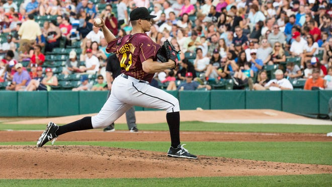 Kyle Lobstein pitches during the Indianapolis Indians' 4-1 loss Saturday night against Toledo at Victory Field.