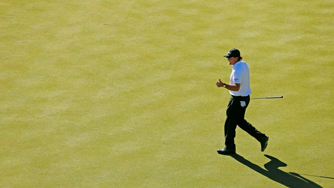 Phil Mickelson gives a thumbs up on the 16th hole during the final round of the Waste Management Phoenix Open golf tournament at TPC Scottsdale in Scottsdale, Az., on Sunday, February 7, 2016.