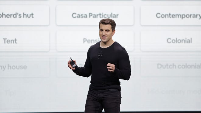 Airbnb co-founder and CEO Brian Chesky speaks during an event Thursday, Feb. 22, 2018, in San Francisco.