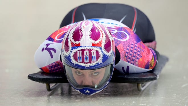 Noelle Pikus-Pace (USA) competes in ladies' skeleton during the Sochi 2014 Olympic Winter Games at Sanki Sliding Center.