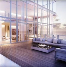 A penthouse at the Surf Club, a hotel and residential complex in Miami designed by architect Richard Meier.