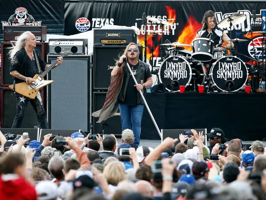 Lynyrd Skynyrd performs prior to April's NASCAR Sprint Cup Series Duck Commander 500 at Texas Motor Speedway in Fort Worth.