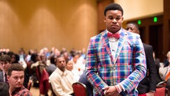Maplesville athlete Nathaniel Watson stands to be honored