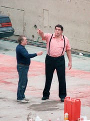 Andre the Giant checks out the Silverdome facilities before the main event.