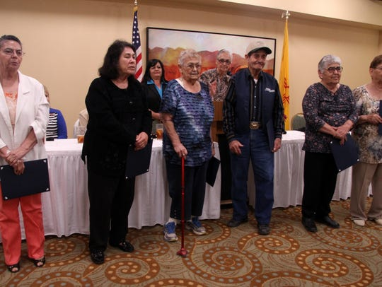 Six senior volunteers were recognized for more than